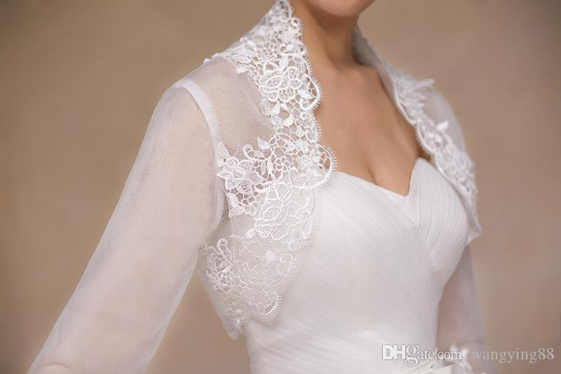 2018 New Ivory Summer Lace Bridal Boleros Long Sleeves Women Ladies Wedding Jackets Plus Size For Wedding Party Christmas Day