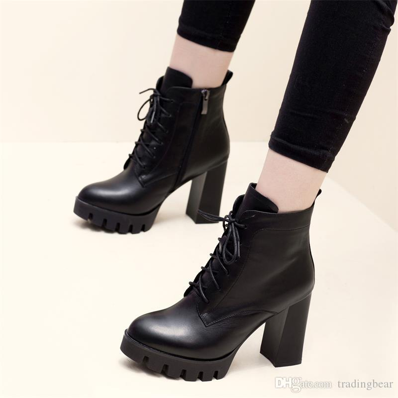 86099c4e3 Compre 9 Cm Nueva Plataforma De Encaje Hasta Tacones Altos Negro Pu Cuero  Caballero Botas Botines Zapatos De Mujer Tamaño 34 A 39 A  31.65 Del  Tradingbear ...