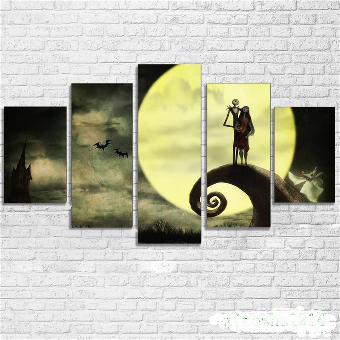 Nightmare Before Christmas Halloween Jack And Sally 5 Pieces Canvas Prints Wall Art Oil Painting Home Decor Unframed Framed