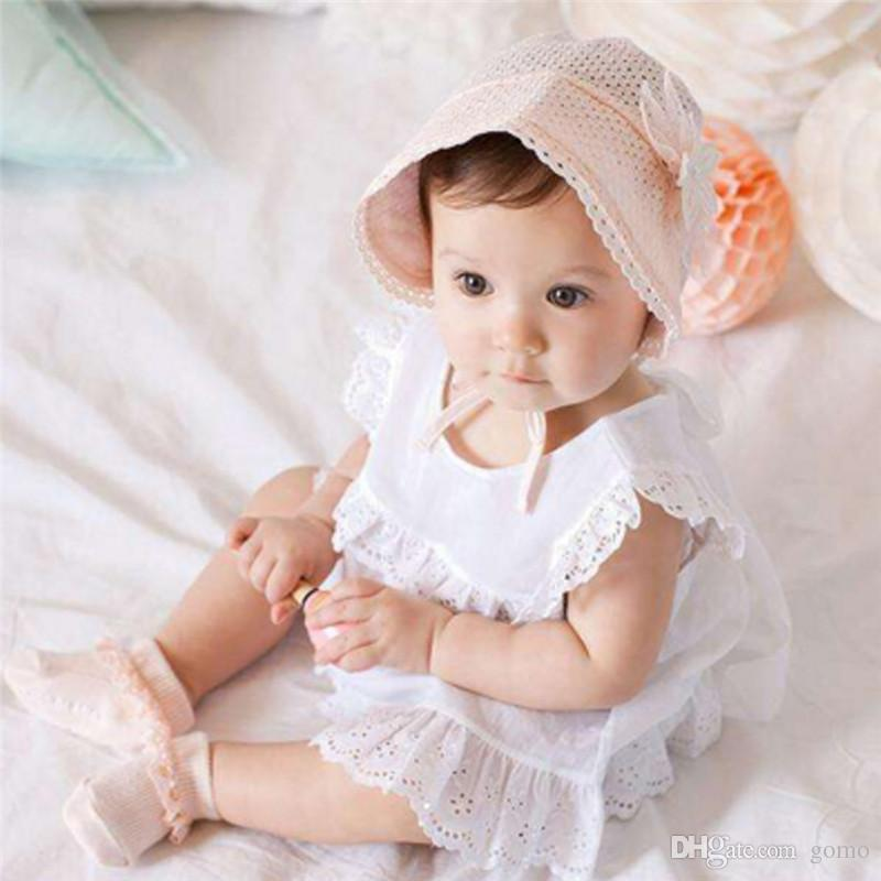 d8c4cc8a18f 2019 Baby Girl Hat Sweet Princess Hollow Out Baby Hat Lace Floral Beanie  Cotton Bonnet Infant Kids Flower Caps For 0 12M From Gomo