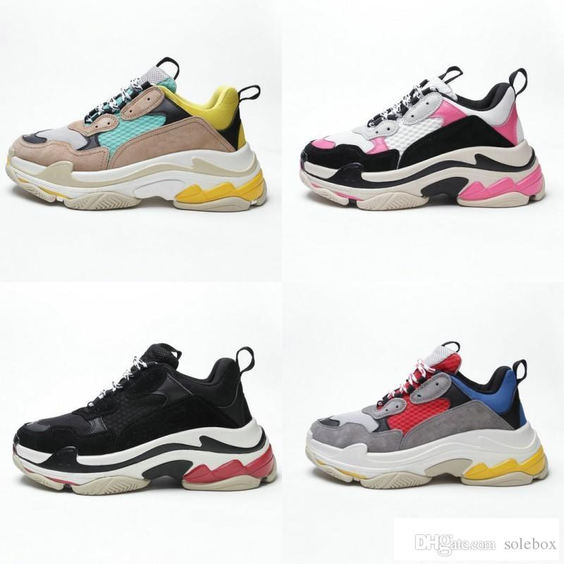2018 Multi Luxury Triple S Designer Low New Arrival Sneaker Combination Soles Boots Mens Womens Runner Shoes Top Quality Sports Casual Shoe
