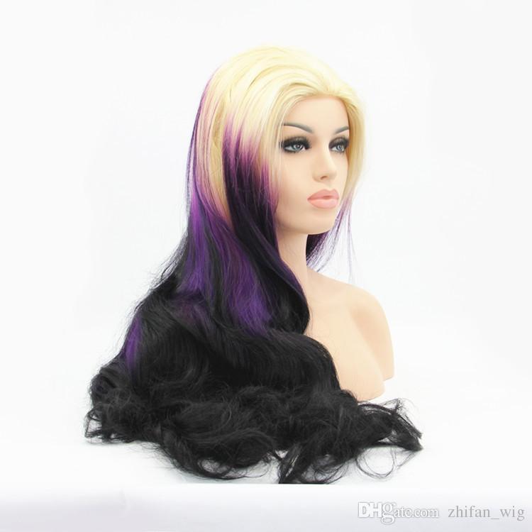 ZhiFan lace wigs white women ombre lace front wig deep curl mix color 26inch princess style purple+black+beige lace front hair pieces