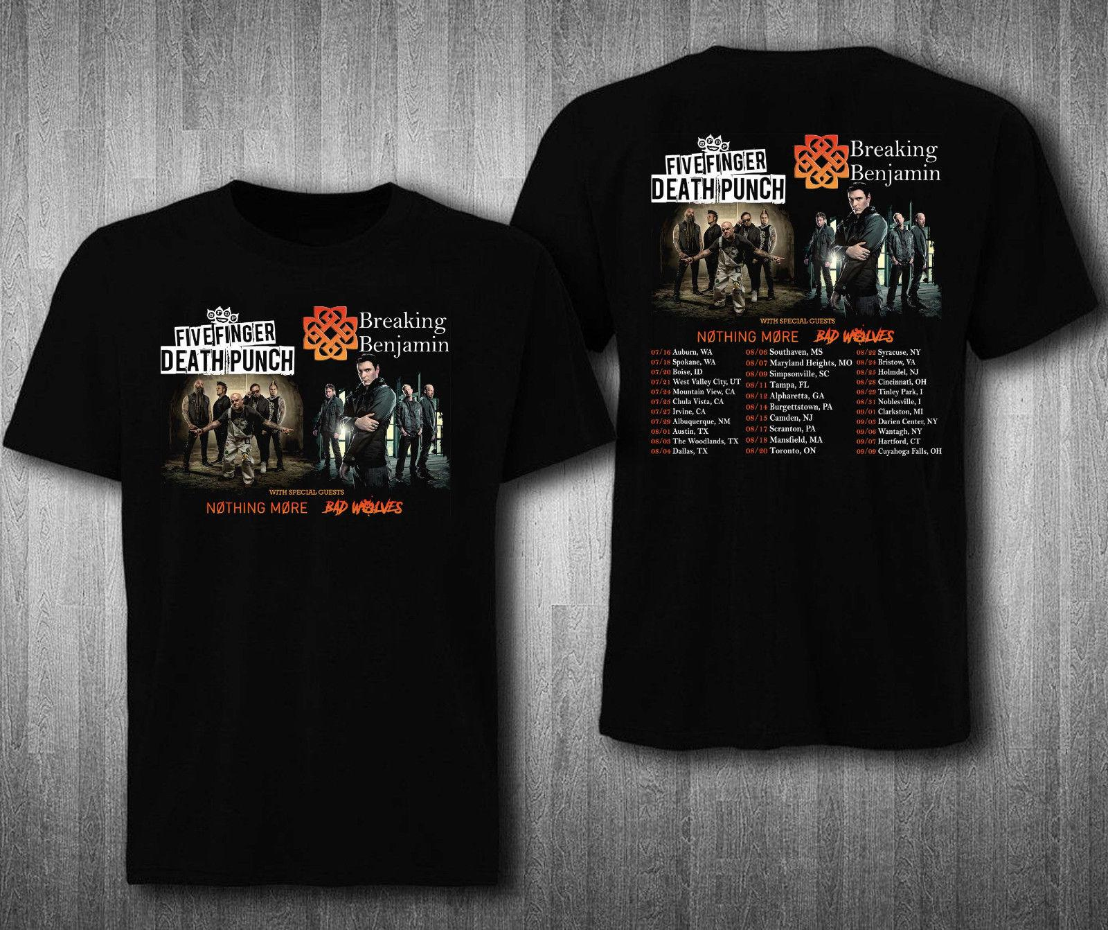 Five Finger Punch With Breaking Benjamin Tour 2018 T Shirt New Fashion Mens Short Sleeve T Shirt Cotton T Shirts T Shirt Humor T Shirt With Shirt From