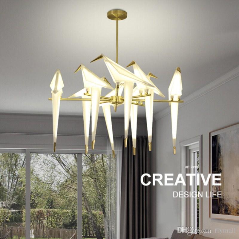 Acheter Moderne Origami Grue Oiseau Pendentif Lumiere Mur Lampes