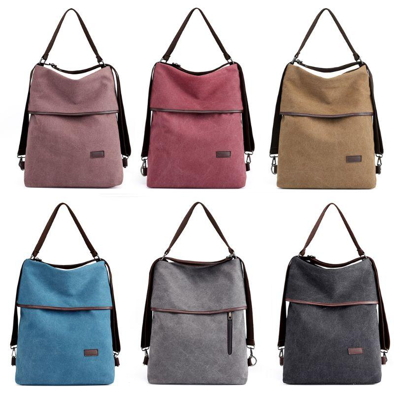 Fashion New Women Ladies Canvas Multifunction Backpack Vintage Girls Casual Travel School Shoulder Bag Top Handle Hobo Rucksack