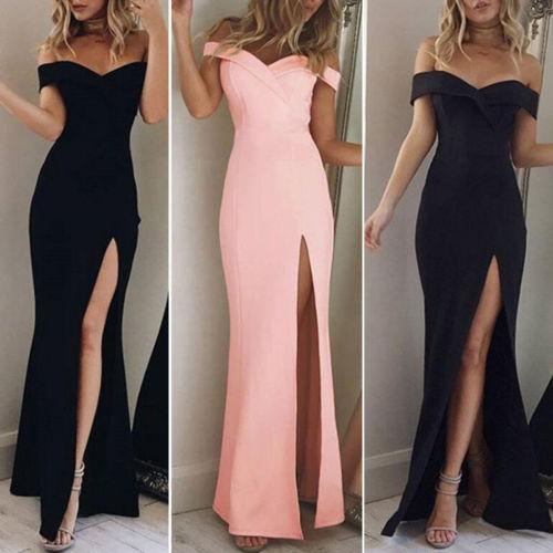 2017 Women's Off Shoulder Dresses Casual Long Maxi Evening Party Beach Long Dress Solid Pink Black V-neck Summer Costume
