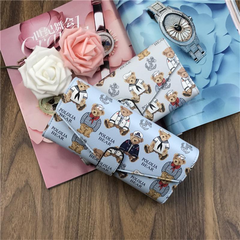 New Fashion Women Wallet Cartoon Printing Bear Hot Sale Long Leather Wallets Popular Change Purse Casual Ladies Cute Cash Purse Best friends