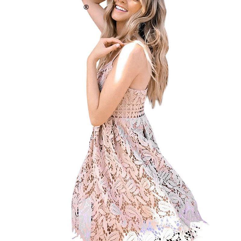 5b35e5a797 Deep V padded backless white lace dress Sexy hollow out party dress vestido  de festa Lined summer dress women sundress