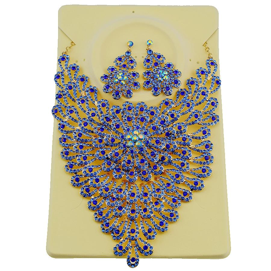 2018 New Fashion Big Flower full Rhinestones Necklace Earrings sets for Women Party Dance Bridal Wedding Jewelry Sets