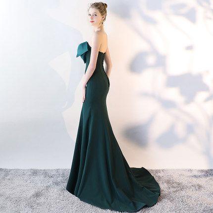 2018 Sweetheart Evening Dresses Elegant Black Mermaid Bow Formal Evening Gowns Plus Size Long Prom Dresses