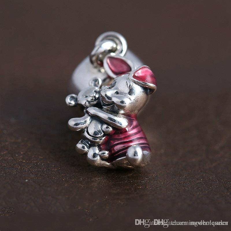 a4b823b13 2019 Disny Piglet Dangles Silver Charms S925 Sterling Silver Fits Pandora  Style Bracelets Transparent Cerise Enamel 792134EN117 H6 From Modernqueen,  ...