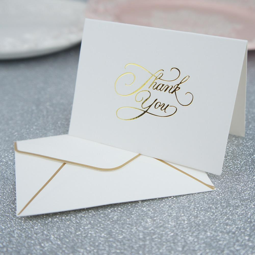 Gold Thank You Fold Card Simple Design Thanks Giving Day Card Send ...