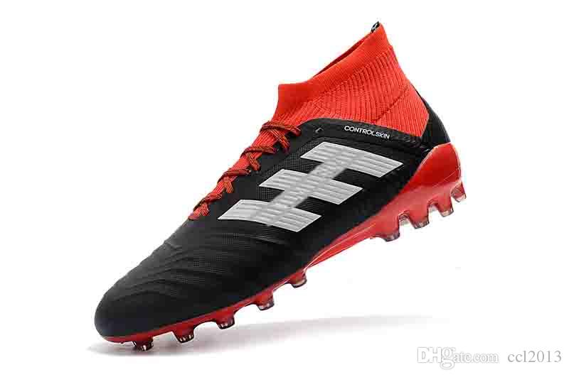 973d3d596 2019 Quality Original Mens Black Red Soccer Cleats Predator 18.1 FG Soccer  Shoes Predator 18 High Ankle Football Boots Outdoor Size 39 45 From Ccl2013