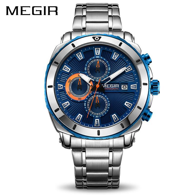 e2d49692b9b81 Compre Megir Cronógrafo Homens De Quartzo Relógios De Luxo Da Marca De Aço  Inoxidável Relógio De Pulso De Negócios Homem Relógio Hora Tempo Relogio ...