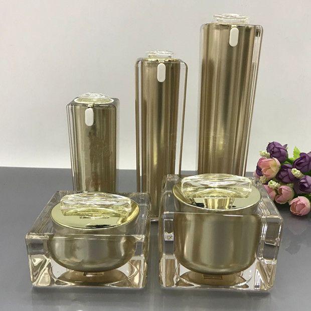1a26cb8642f2 High Grade Gold Cosmetics Sub Acrylic 30/50/100ML Lotion Pump Bottle,  Classic 15/30/50G Acrylic Cream Jar 6PCS 1Suit