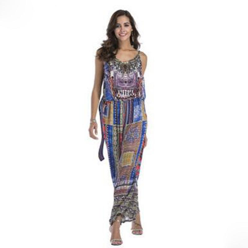 a2fb3d6ff38 2019 Bohemian Women Plus Size Jumpsuits Rompers Chiffon 2018 Spring Summer  Sexy V Neck Female Wide Leg Pants Chic MQ0010 From Manxinxin