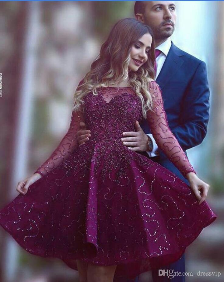 Arabic Burgundy Cocktail Dresses Lace Tulle Beaded Sequins Illusion Sexy Long Sleeve Evening Gowns Short Formal Prom Dress Party Wear