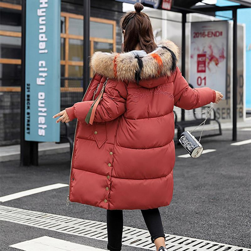 f56b8ccb3 Solid Thick Down Parka 2018 New Fashion Loose Plus Size Big Fur Collar  Women Winter Coat Long Winter Down Cotton Jacket Outwear