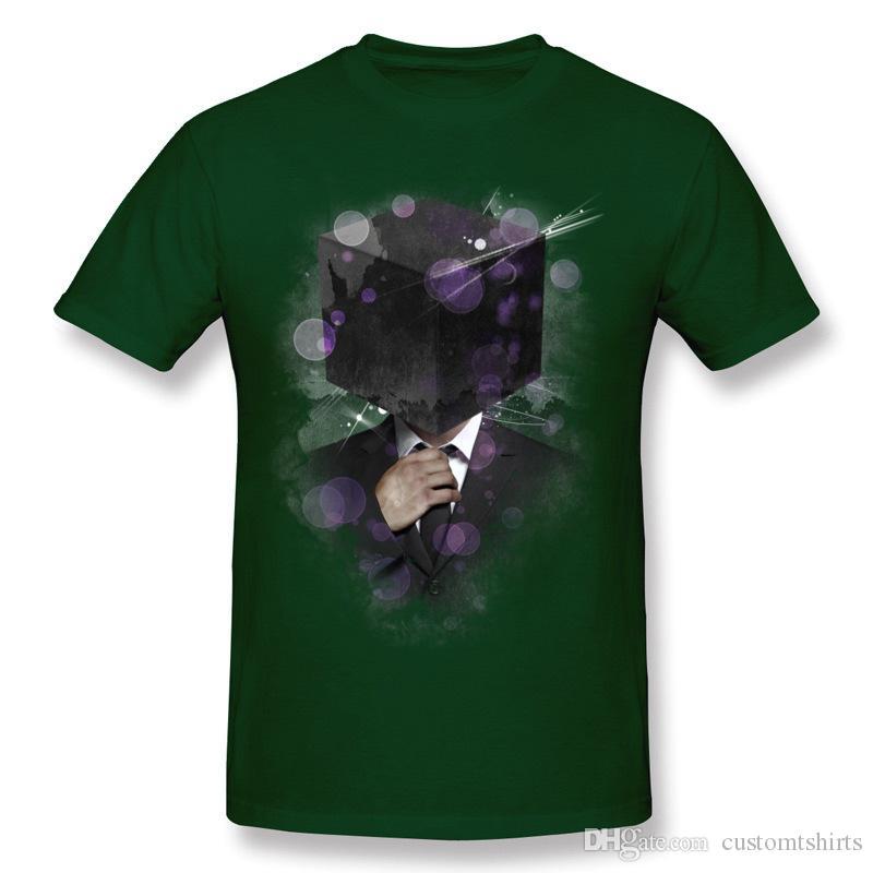 Newest Men's Cotton Cube Head Tee-Shirts Men's Crew Neck Dark Green Short Sleeve T-Shirt Large Size Custom Tee-Shirts