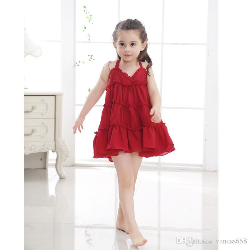 Großhandel Sleeveless Sommer Rote Mädchen Partei Kleid A Linie ...