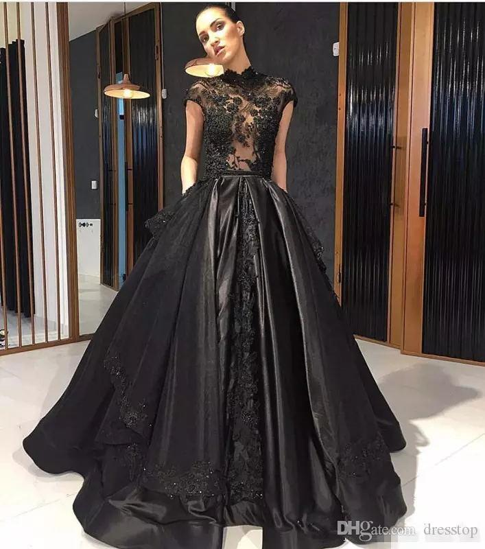 Elie Saab Black Lace Formal Celebrity Evening Dresses High Neck See Through Overskirt Train Red Carpet Prom Party Gowns Vestidos