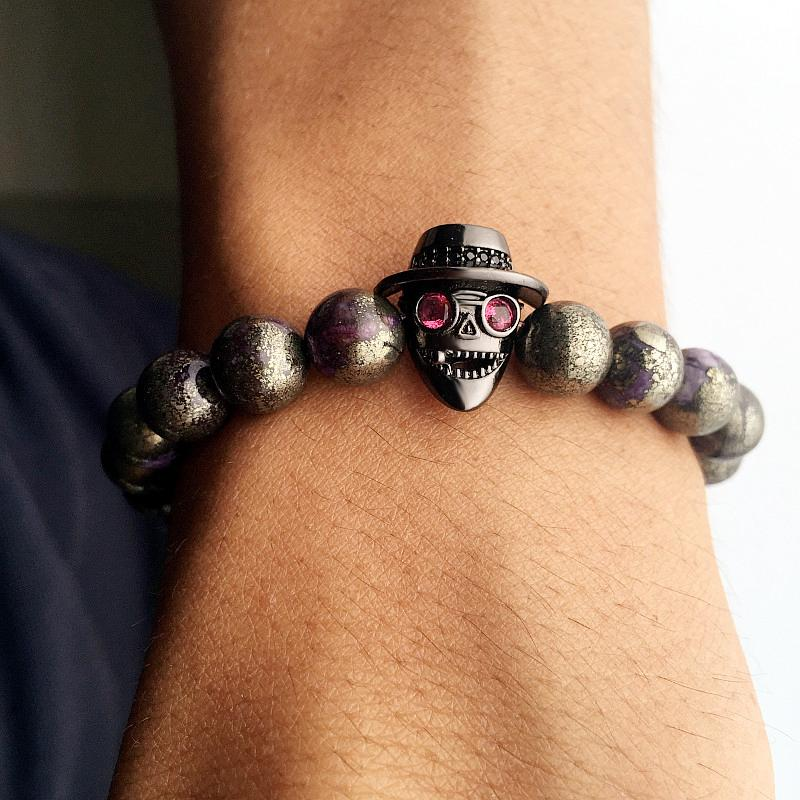 Mcllroy beads bracelets skull wearing hat natural iron ore stone zircon accessories bangles couple gifts bracelet armband heren