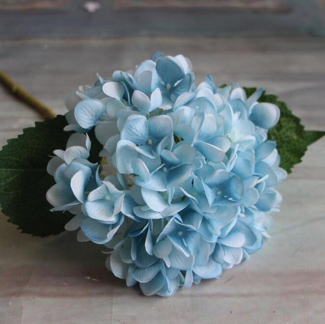 Flor de Hortensia Artificial 47 cm Fake Silk Single Real Touch Hydrangeas para Centros de Bodas Home Party Flores Decorativas GA15