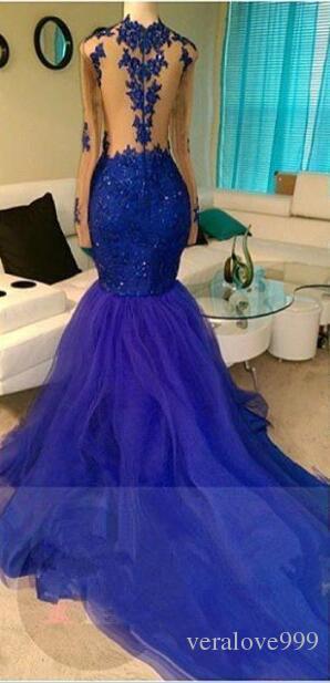 Shinny Royal Blue Русалка Пром Платья Сексуальная Иллюзия Длинные Рукава Sheer Спинки Аппликация Блестками Длинные Тюль Вечерние Платья
