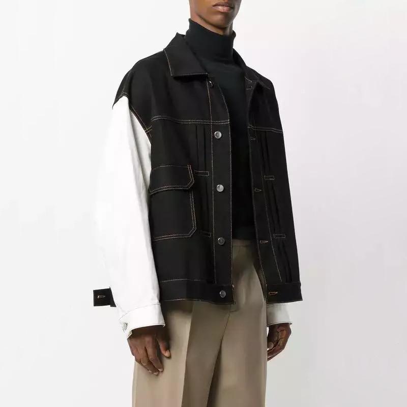 c7d0d534190 Raf Simons Jacket Men Women Patckwork Unisexual Denim Jacket Fashion Long  Sleeve Relax Warm Jacket HFLSJK056 Oversized Coat Womens Black Denim Jacket  With ...