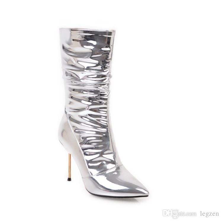 Legzen Sexy Women Half Boots Fashion Pointed Toe Metal Thin High Heels Mid-calf Boots Shoes Woman Elegnat Silver Plus US Size 2-10.5