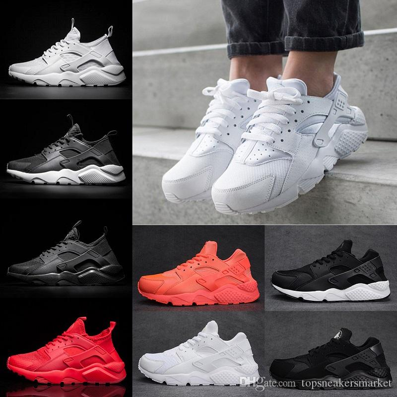 the best attitude 7a862 e030a 2018 Designer Runs 4 Huarache 1 Mens Running shoes Triple White Black Red  portable Breathable Huaraches Womens Sport Sneakers US 5.5-11