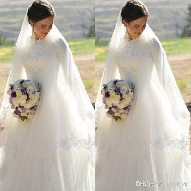 046160023b7 Discount 2018 Long Sleeve Lace Muslim Wedding Dresses High Neck Tulle Skirt Floor  Length Modest Wedding Gowns Bridal Dresses Zipper Back Indian Wedding ...