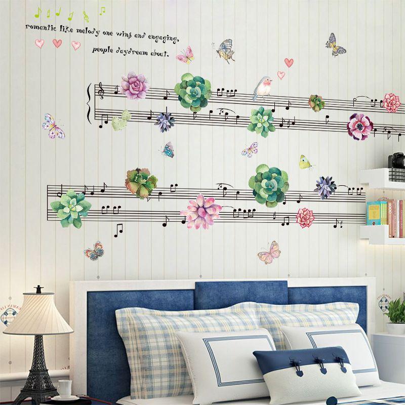 Beautiful Succulent Sheet Music Wall Stickers Flowers Bird Butterflies Bedroom Living Room Tv Background Decor Removable Decals