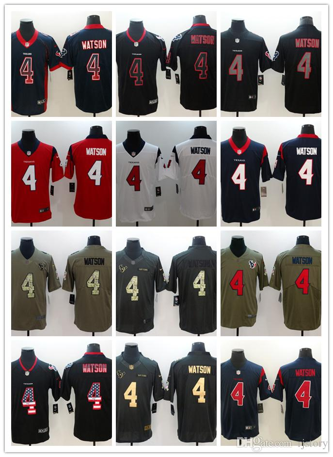 buy popular c1590 869a8 2018-2019 New Men 4 Deshaun Watson Houston Texans Football Jersey Stitched  Embroidery Deshaun Watson Color Rush Football Stitching Jersey