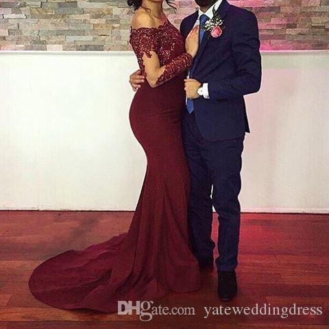 2018 Borgoña sirena vestidos de noche Bateau cuello mangas largas mujer formal de noche lleva lentejuelas apliques de satén vestidos de baile elegante