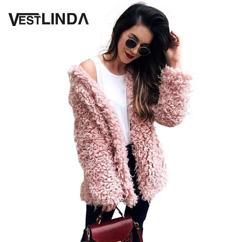 0fe8e08c92 VESTLINDA Cappotto di lana grigio invernale Cappotto di lana caldo Cappotto  rosa donna di pelliccia sintetica Colletto rovesciato a maniche lunghe ...