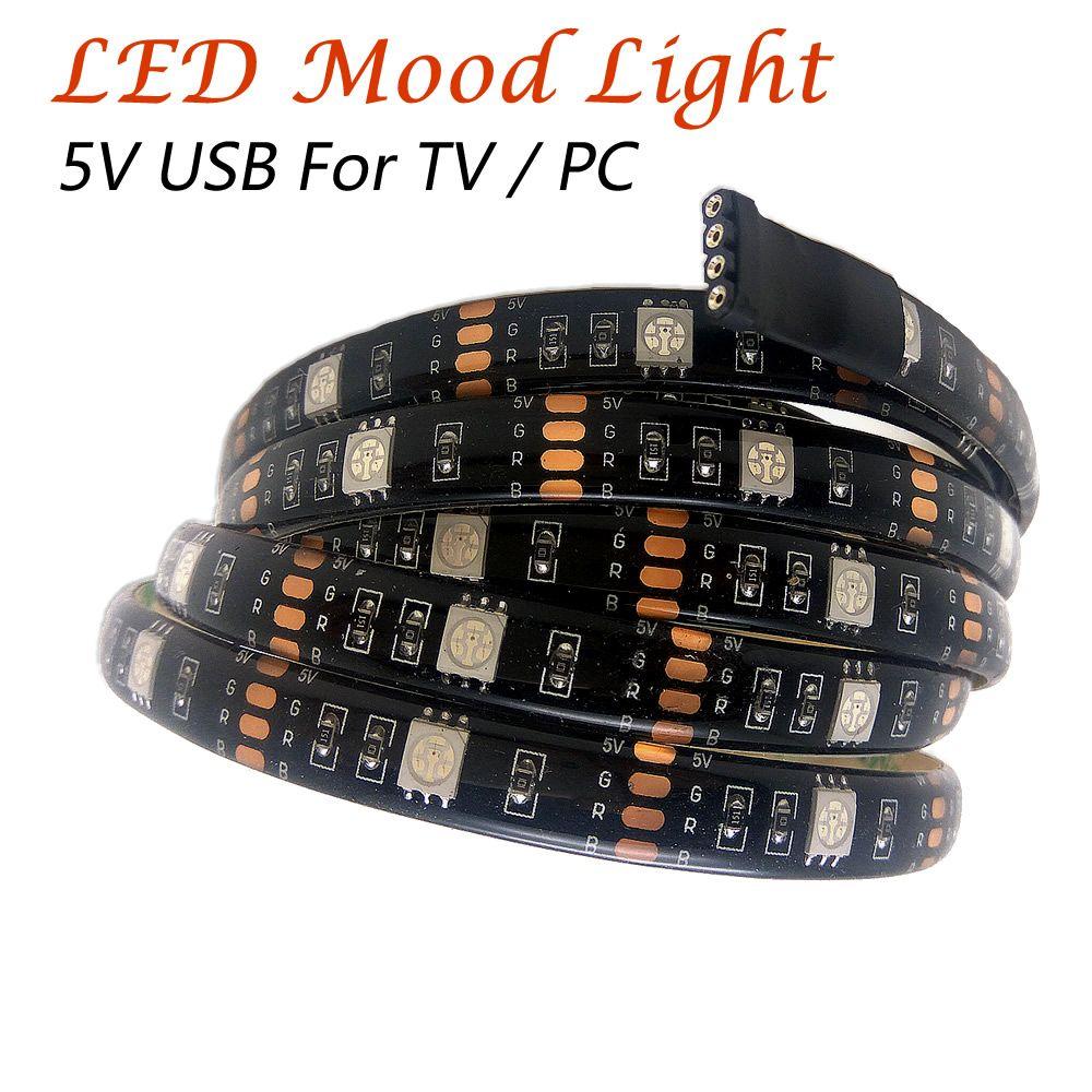5V cable USB Luz LED de humor para TV Monitor de PC 6.6 pies 60 LEDs 5050 RGB Luz de tira LED 17 teclas RF controlador remoto inalámbrico