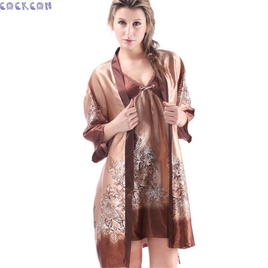 COCKCON Women Robe Sexy Lace Silk Robe Gown Sets Deep V-neck Night Dress  Sleepwear Pyjamas Bathrobe Bridesmaid Robes 7711 Gown Set Robe Gown Set Gown  Robe ... 7607cb1ab
