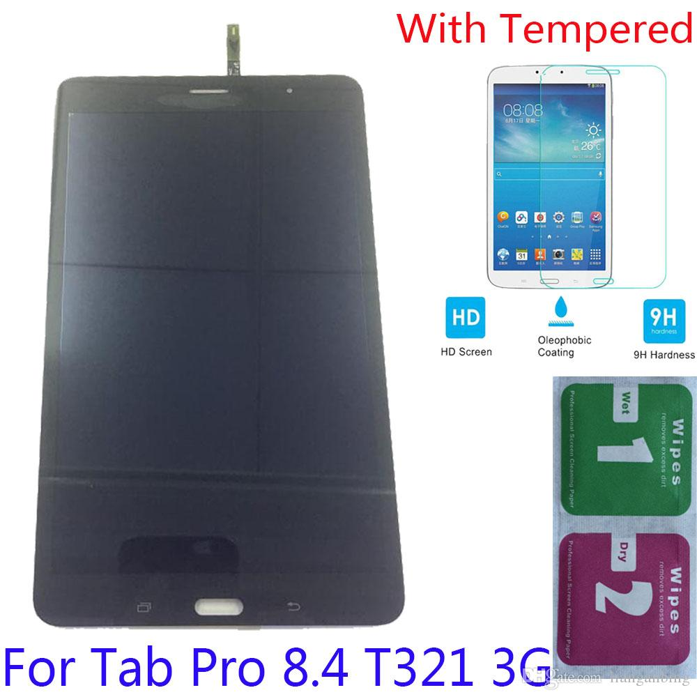 NEW LCD Display Touch Screen Digitizer For Samsung Galaxy Tab Pro 8.4 T321 3G Black White With Tempered Glass DHL logistics