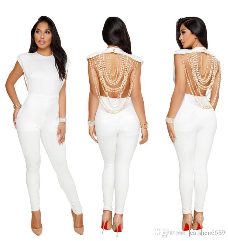 Nouveau Mode Combinaison Femmes 2018 Sexy Backless Perles Décoration Barboteuses Femmes Bodysuits O-cou Sans Manches Collants Club Party Combinaison
