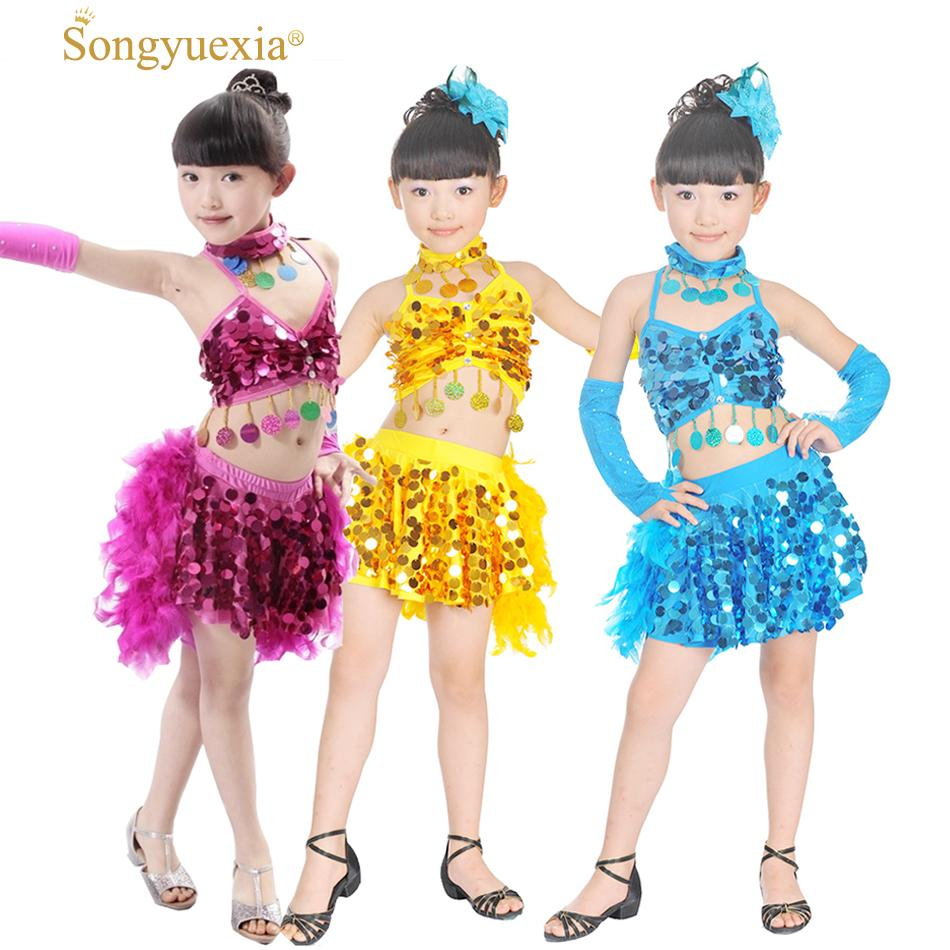 a9e309e37d1e 2019 Songyuexia Children New Feather Dance Costumes Sequin Latin Dress  Children For Kids Girl TOP Skirt Stage Dance Costumes From Michalle, $26.24  | DHgate.