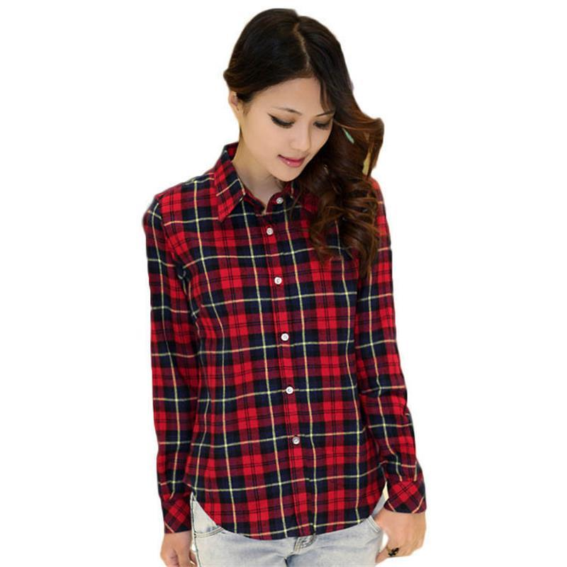 03f0e45713539 2019 Fashion Spring Ladies Shirts With Plaid Casual Plus Size Blouse In  Flannel Turn Down Collar Comfortable Party Club Work From Tee boy