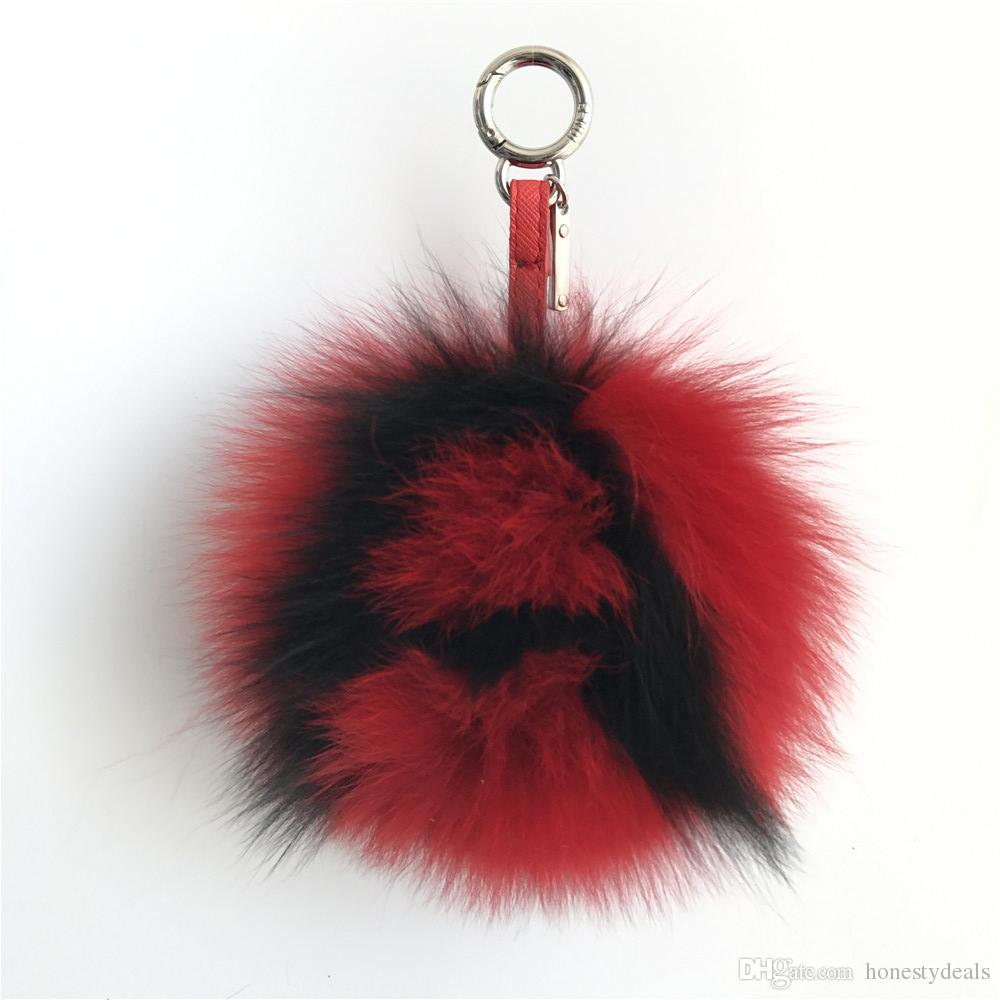 4ea3f022c1d6 Black Red -6 Large Soft Real Fox Fur Pom Pom Ball Initial LetterA ...