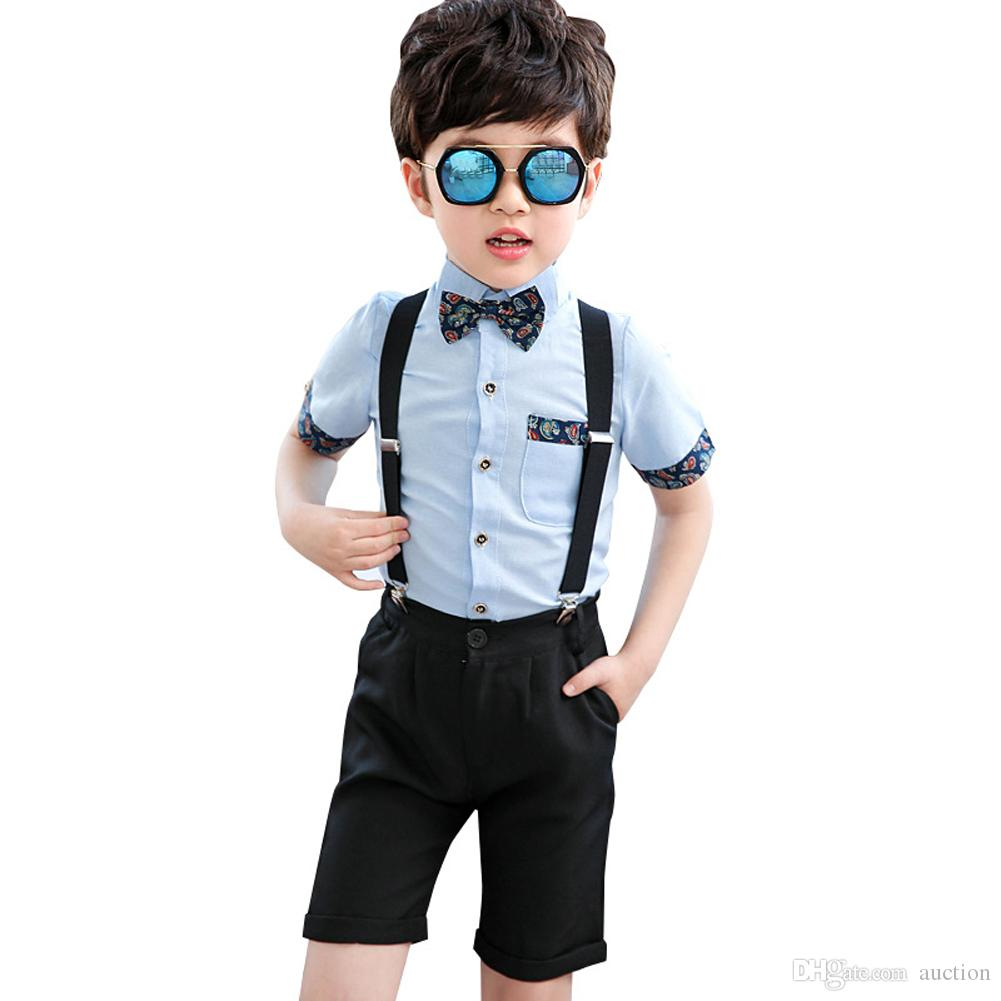 02c6f321a Children Boys Summer Formal Suits+Bowtie Kids Wedding Ring Bearer Short  Sleeve Suspender Tuxedo Set