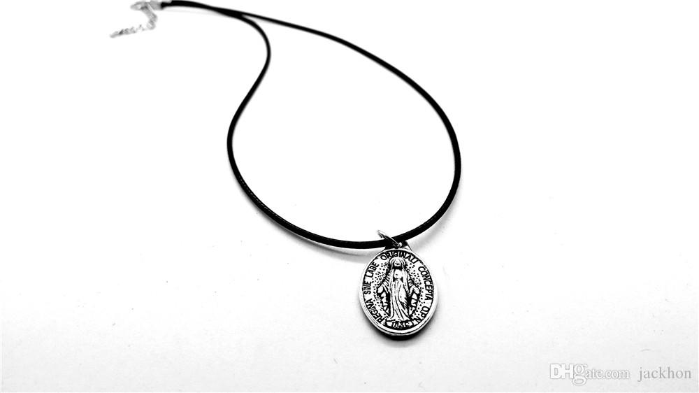 Blessed Holy Mother Saint Virgin Mary Pendant Necklace for Women Christian Cross Ave Maria Medallion Leather Rope Necklaces Lady Gift