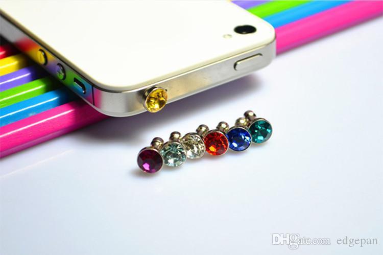 2018 más caliente Universal 3.5mm Crystal Diamond Anti Dust Plug A prueba de polvo Auriculares Jack para todas las series de teléfonos celulares DHL Free Ship