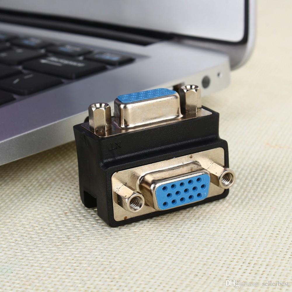 90 Derece Sağ Açı 15 Pin VGA SVGA Kadın Kadın dönüştürücü Açı Adaptörü Genişletici Adaptörü için Kordon Monitör Bağlayıcı