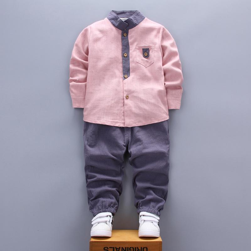 2018 Новый Детская одежда весна осень дети с длинным рукавом повседневная спортивные костюмы воротник рубашки брюки 2 шт. мальчики наборы одежды для 0-4 лет