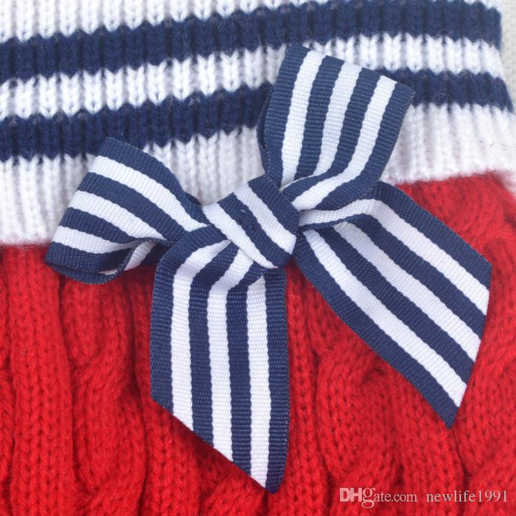 Cute Navy Style Sweater For Dog Winter Spring Clothing Dog Puppy Clothes Sweaters Fashion Striped Dress Lovely Bow Pets sweater