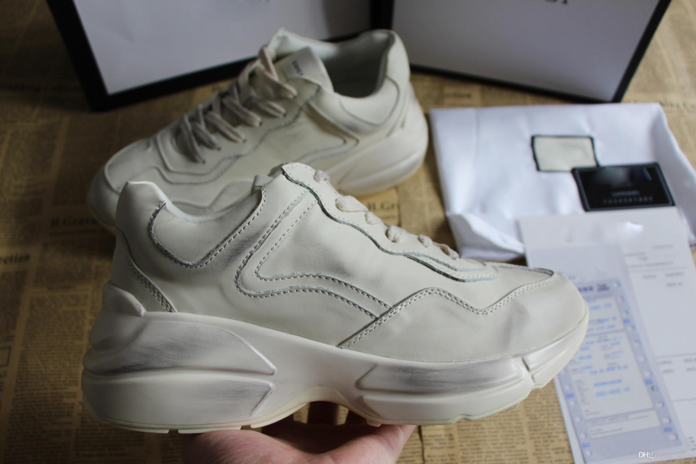 hot sales 81ca6 ce0b5 Mode Designer Damen Marke Casual Schuhe Rhyton Sneaker dicke Sohle und  sperrige Konstruktion unisex Sneaker für Männer Frauen Größe 34-46